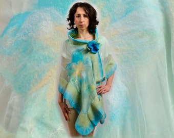 Silk Shawl / Wrap Natural silk with australian merino wool. High Quality Handmade