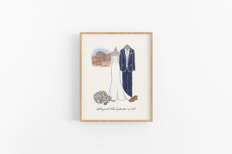 A wedding illustration is a perfect gift for home decor lovers, especially who are fans of minimalism. The elegant portrait of your dress and suit will be hand drawn to remind of the most meaningful day in your life.