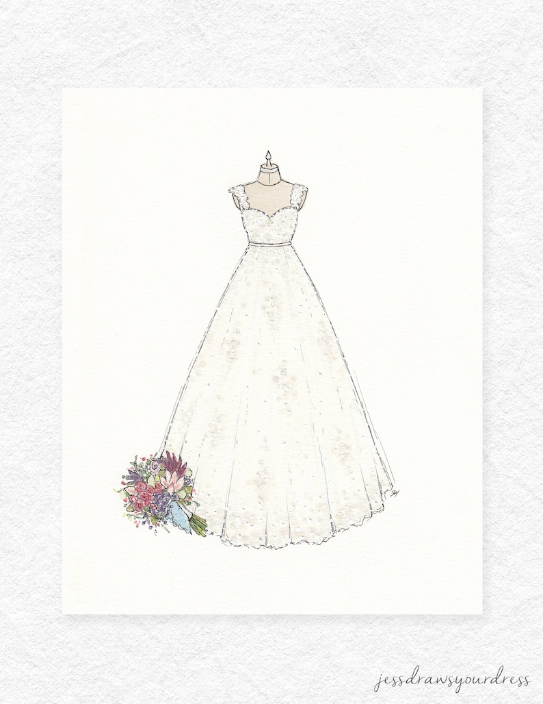 Custom Wedding Dress Illustration Colour Mixed Media Etsy