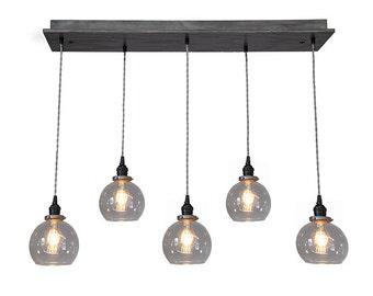 Globe Pendant Chandelier With Edison Bulbs - Kitchen Lighting