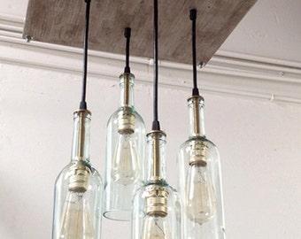 Recycled Wine Bottle Chandelier: Industrial Chandelier, Cottage Chic Lighting, Industrial Lighting, Modern Lighting, Mid-Century Decor