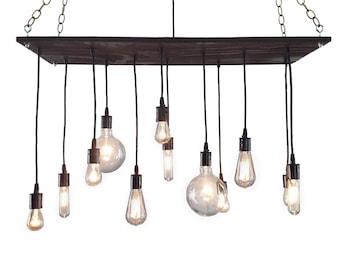 Urban Chandelier: Rustic Chandelier, Industrial Chandelier, Modern Lighting, Light Fixture, Reclaimed Wood Chandelier