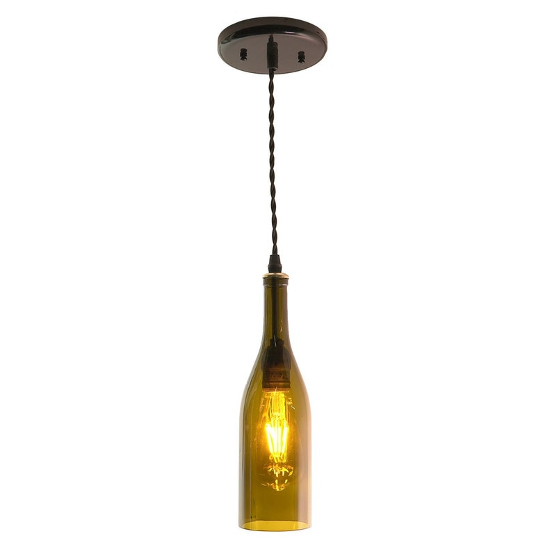 0d9a416071d Olive Glass Wine Bottle Pendant Light Olive Wine Pendant