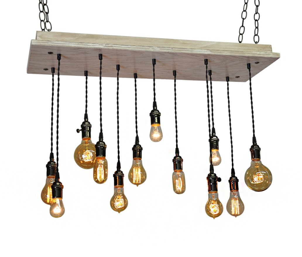 Just Reduced Rustic Handmade 3 Bulb Hanging Light Fixture Or: Industrial Lighting Farmhouse Industrial Shabby Chic