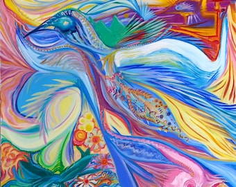 Shamanic Colourful oil painting