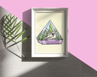 Unicorn Skull Terrarium Print A5 // succulent, floral, botanical, hand drawn, wall hanging, home decor, pastel goth, TikTok, kawaii, cute