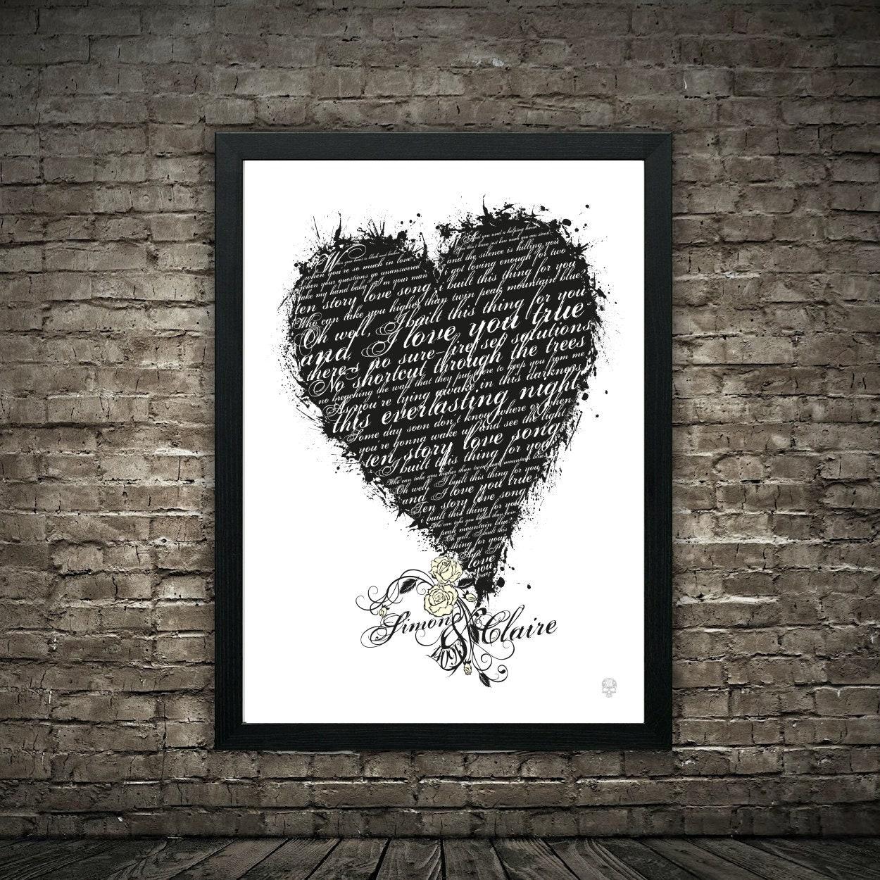 Danser sur mon propre cœur gris chanson LYRIC Cadeau Imprimé