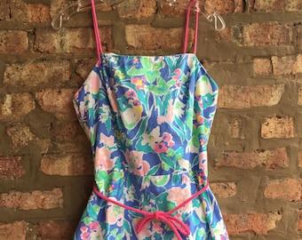 Blue Pink Floral Romper Sunsuit Seawaves Size 12