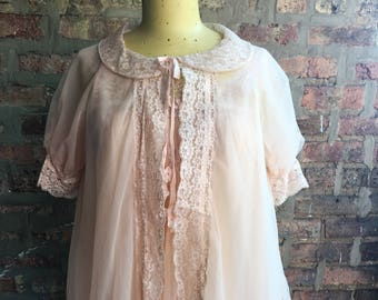 1960s Pale Pink Chiffon and Lace Peignoir Set Val Mode Small