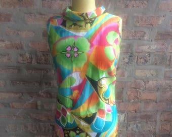 1970s Multi-Color Cotton Shift Wiggle Dress Size S/M