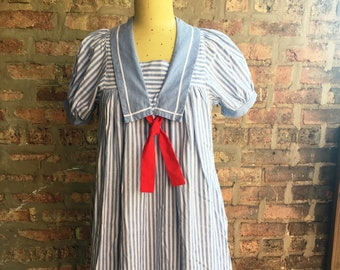 1970s Blue and White Striped Nautical Cotton Maternity Dress Size 10