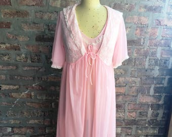 1970s Pink Nylon Chiffon Full Length Peignoir Nightgown Set Lisette Large