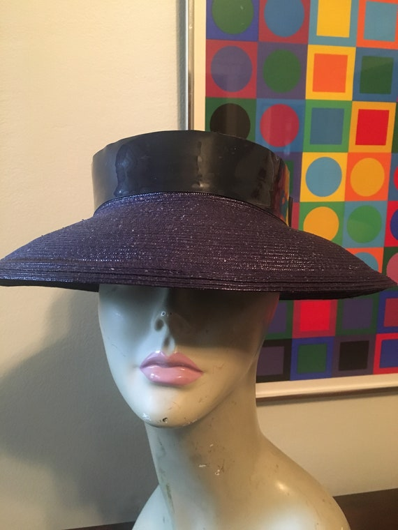 Vintage Joal Navy Blue Straw Hat Patent Hatband Si