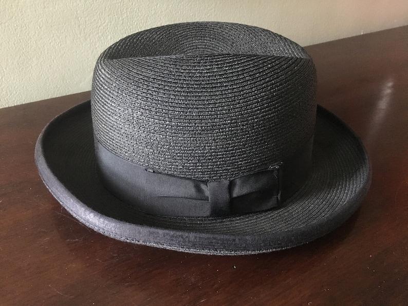 23074f35 Vintage Biltmore Milan Black Straw Fedora Hat 7 3/4 | Etsy