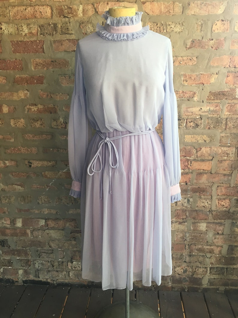 Vintage Lavender Chiffon Dress The Gilbert/'s for Tally I Magnin Small