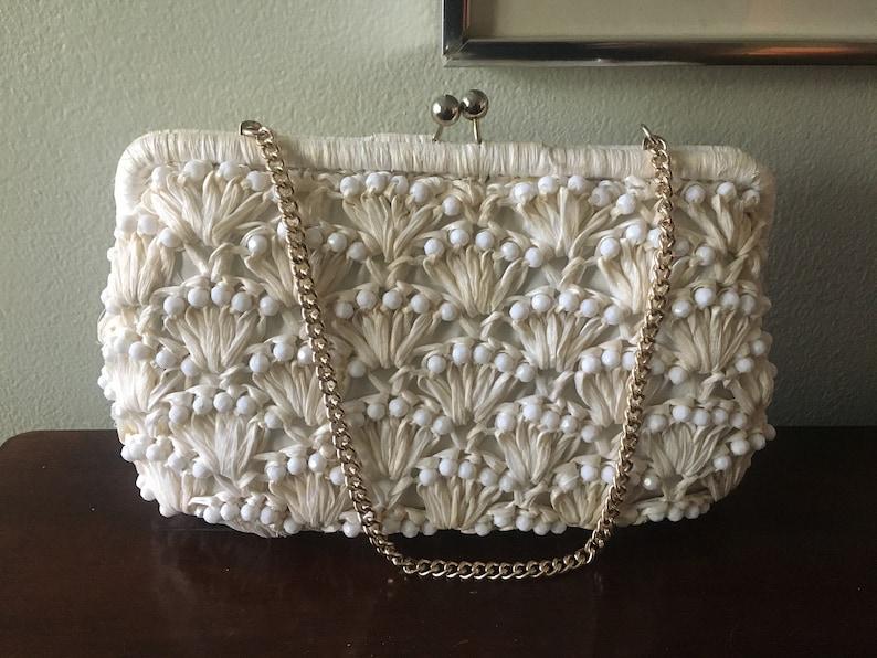 Vintage White Straw Beaded Handbag Purse Joseph Shoes Japan