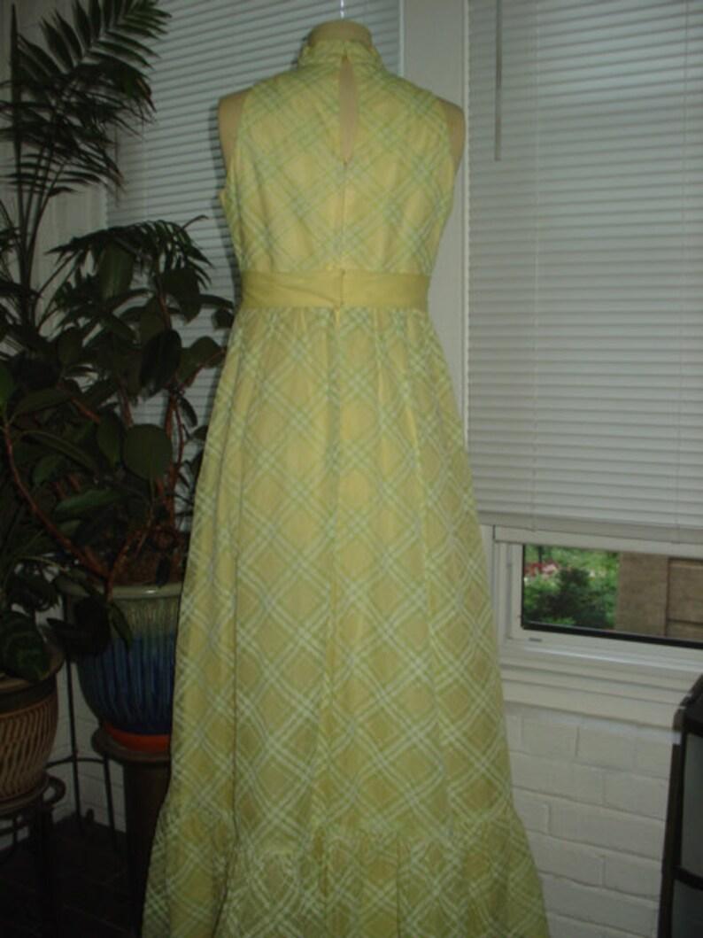 1970s Vintage Yellow Plaid Bridesmaid Garden Party Maxi Dress Size M