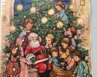 Vintage Kruger Advent Santa Angels Christmas Tree Calendar West Germany #857
