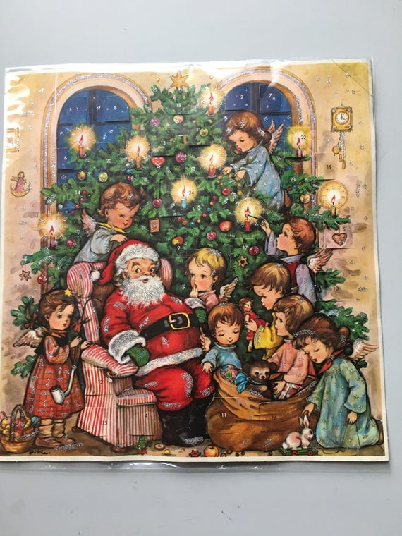 Vintage Kruger Advent Santa Angels Christmas Tree Calendar West Germany