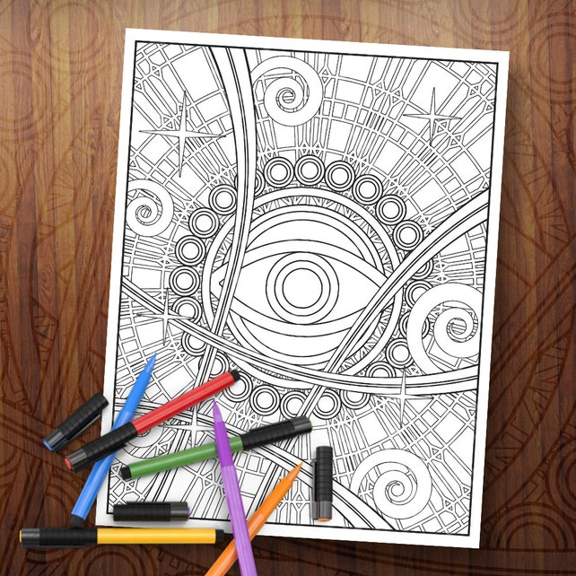 Dr. Strange inspirada página para colorear del ojo de Agamotto | Etsy