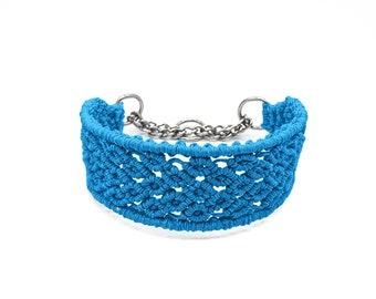 Turquoise hemp clip on rosebud dog collar with a tassel