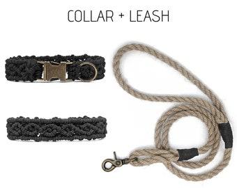 Black hemp sighthound rosebud martingale collar