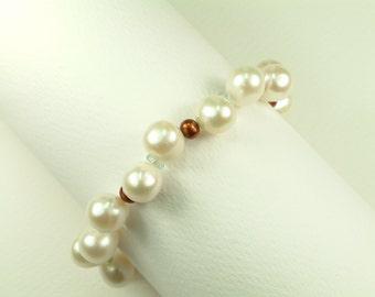 Pearl Bracelet with Aquamarine (Βραχιόλι Μαργαριταριών με Ακουαμαρίν)