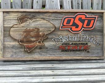 "Pistol Pete - OSU - Oklahoma State University  11.5"" x 24"" approx. size Item #797"