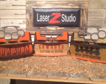 """Oklahoma State; Knucklehead Brand Wood Six Pack Boxe  10""""long x 8"""" widex 8.5"""" tall approx. Item #7001"""