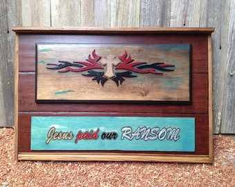 """Jesus Paid Our RANSOM ; 16.75"""" x 25"""" approx. Item #1036"""