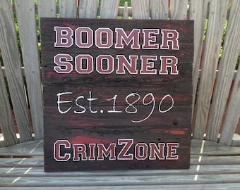"BOOMER Sooner - CrimZone  23"" x 23"" approx. Item #649"