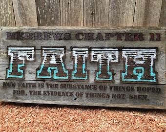 "FAITH;Hebrews Chapter 11, Silver over Aqua blue green 12"" x 26.5"" approx. Item #1051"