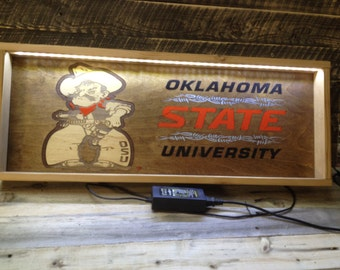 """LED Light Up Shadow Box OK State - PETE 11.5"""" x 29.5"""" approx. Item #0800"""