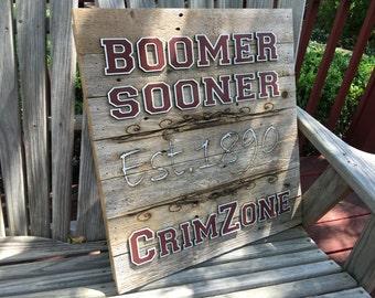 "BOOMER Sooner - CrimZone  23"" x 23"" approx. Item #658"