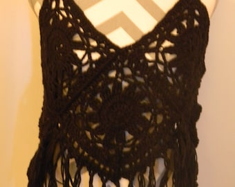 Crochet Black Boho Top S/M