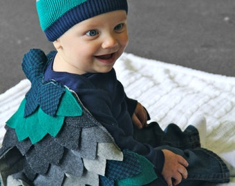 Baby Owl Costume - Baby Halloween Costume- bodysuit Wings Cape & hat -CUSTOM ORDER - Boys Girls - Upcycled wool - size 3 6 9 12 months