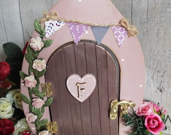 WOODEN FAIRY DOOR - free standing, hand-painted. Custom made to order and decorated by hand. Can be personalised.