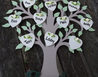 WOODEN 'FAMILY' TREE - Handcrafted and personalised with up to 15 names.