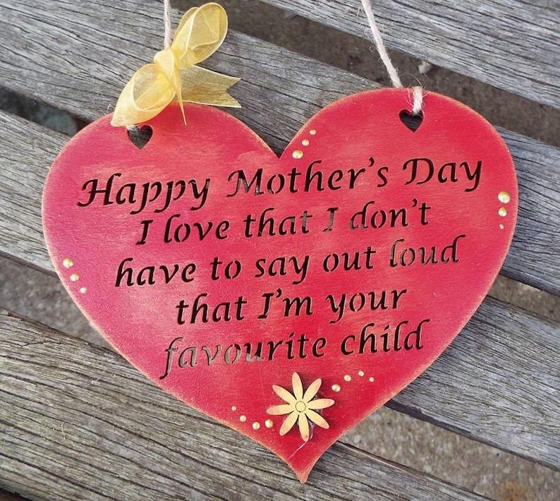 Mum Humerous Wooden Heart Gift Plaque Hand Painted Laser Cut Ideal Present For Mother Mum Mummyetc