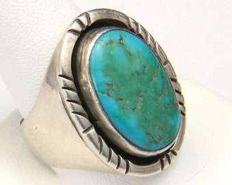 Vintage Men's Large Sterling Silver & Turquoise Ring Southwestern Size 11 Signed