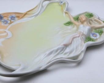 Vintage Unicorn Studio Reclining Woman Flowers Leaves Decorative Porcelain Tray