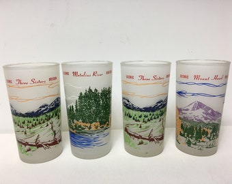 Vintage Set of 4 Frosted Tumblers Glasses Souvenir Oregon Scenic Barware Mid Century