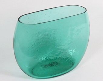 Vintage Winslow Anderson for Blenko Large Teal Green Glass Wide Mouth Vase