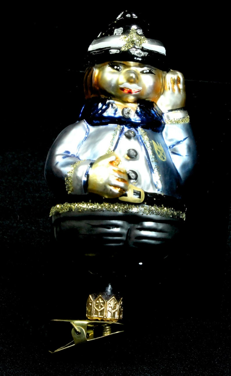 Radko 1995 Officer Joe Policeman Hand-Painted Glass Clip Christmas Ornament Vintage