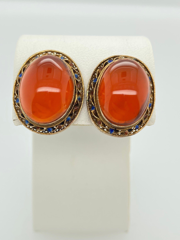 Vintage Carnelian Chinese Export Clip On Earrings Sterling Silver Vermeil Enamel by HouseofVintageOnline