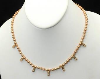 Vintage Monet Gold Tone Copper-Champagne Faux Pearl & Rhinestone Necklace