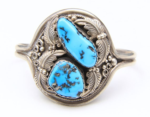 Vintage Sterling Silver Southwestern Double Turquoise Cuff