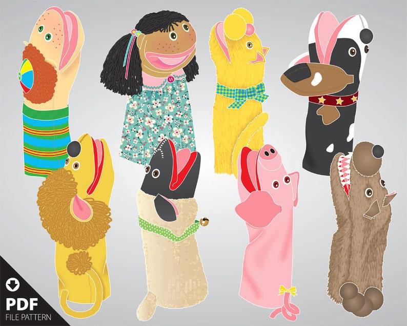 Pdf 8 Hand Puppet Patterns Boy Girl Cat Dog Lion Lamb Etsy