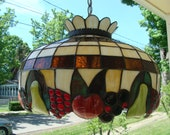 Stained Glass Lamp Shade Slag Glass And Fruit Swag Lamp Hanging Pendant Lamp Panel Chandelier Apple Grape Pear Cherry