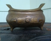 Signed Brass Or Bronze Metal Incense Burner Censer Tripod Footed